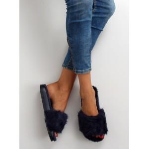Chlupaté dámské nazouváky v modré barvě