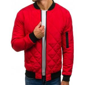 Červená pánská bomber bunda