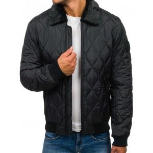 Pánská zimní bomber bunda s kožešinou v černé barvě