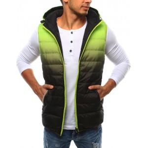 Zeleno černá pánská vesta s kapucí