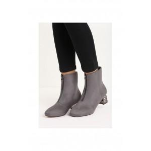 Šedé dámské semišové boty na podpatku