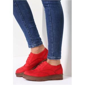 Dámské tkaničkové polobotky červené barvy