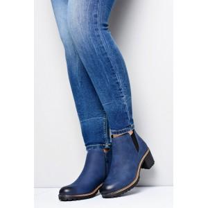 Tmavě modré dámské boty na zip