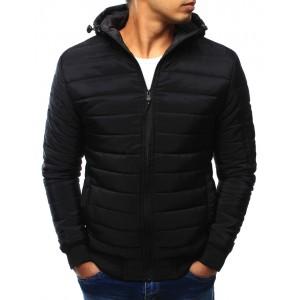 Černá pánská přechodná bunda s kapucí