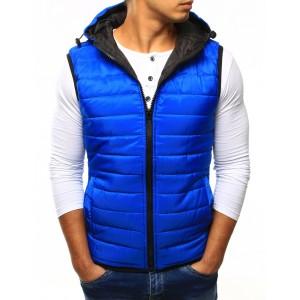 Pánská vesta s kapucí v modré barvě