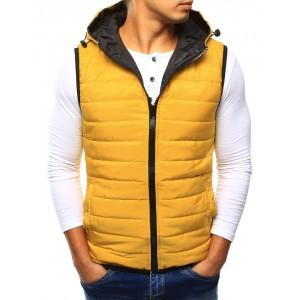 Pánská žlutá vesta s kapucí