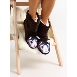 Hnědé dámské pantofle s motivem kočky
