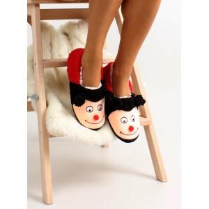 Moderní dámské pantofle v červené barvě