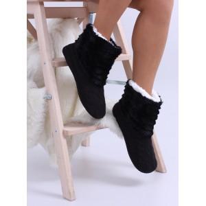 Zateplené dámské pantofle v černé barvě