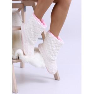 Pletené dámské pantofle v bílé barvě