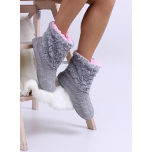 Zateplené dámské pantofle v šedé barvě