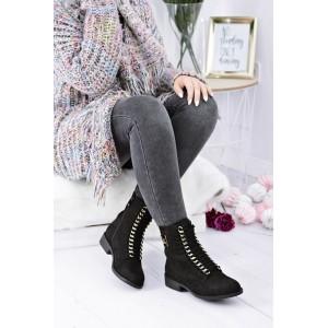 Černá dámská kotníková obuv na šněrování