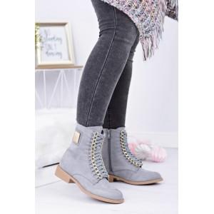 Kotníkové dámské přechodné boty v šedé barvě