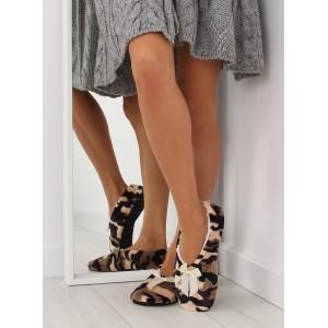 Béžové dámské pantofle v army stylu