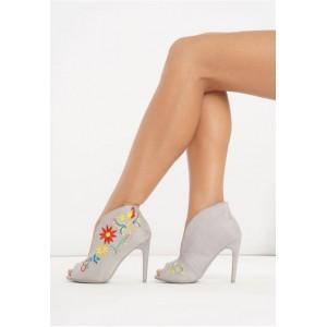 Šedé dámské boty na vysokém podpatku