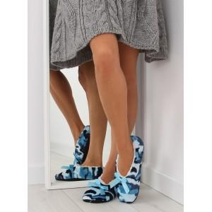 Modré dámské pantofle s mašlí