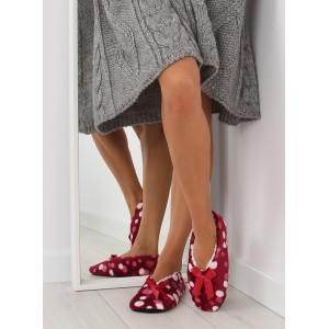 Dámské bordové pantofle s mašlí