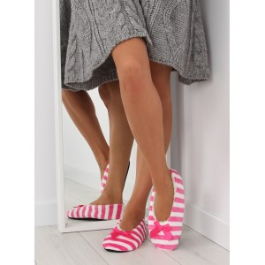 Růžové dámské pantofle s mašlí