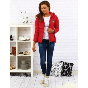 Červená dámská přechodná bunda s kapucí