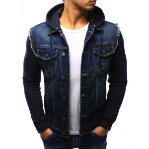 Jeansová přechodná bunda modré barvy