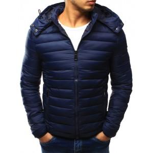 Tmavě modrá pánská přechodná bunda s kapucí
