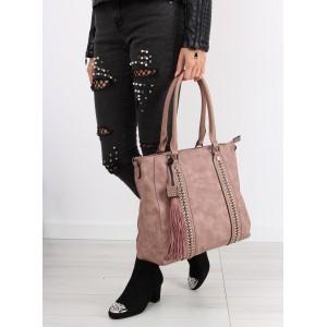 Růžová dámská kabelka se střapcem