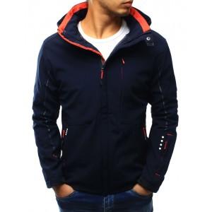 Tmavě modrá pánská podzimní bunda s kapucí