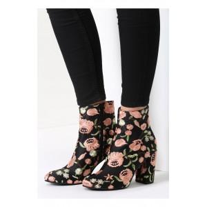 Černé dámské boty se vzorem květů