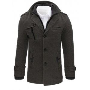 Šedé pánské kabáty bez kapuce