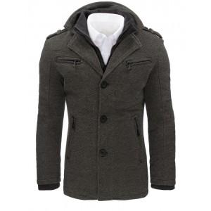 Šedé pánské zimní kabáty s kapsami