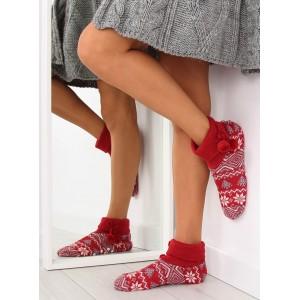 Zateplene dámské pantofle v červené barvě