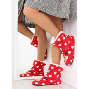 Červené dámské pantofle s motivem soba