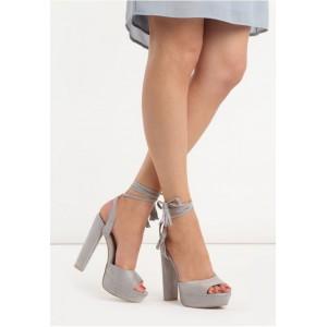VELIKOST 36 Šedé dámské sandály na hrubém podpatku