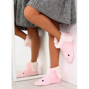 Pohodlně dámské pantofle v růžové barvě