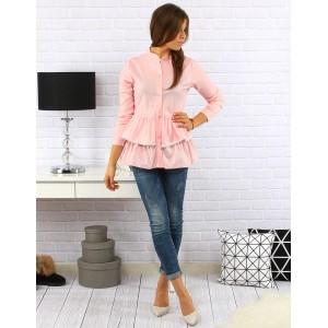 Růžová dámská bavlněná košile s volánkem