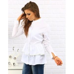 Pohodlná dámská košile s dlouhým rukávem bíle barvy