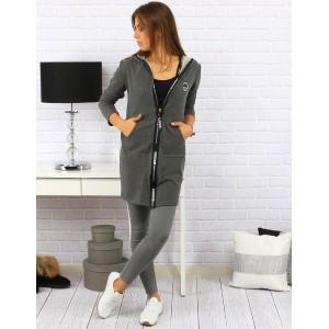 Moderní šedá mikina s kapucí pro dámy se zapínáním na zip