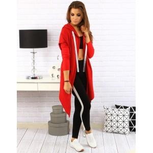 Moderní dlouhá dámská mikina červené barvy s kapucí a bílými tkaničkami