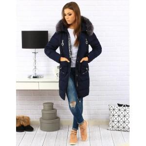 Elegantní prošívané dámské tmavě modré bundy na zimu s kožešinou