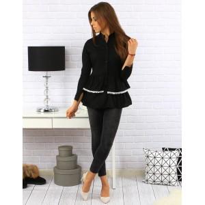 Prodloužená dámská košile černé barvy s bílou krajkou na kapsách