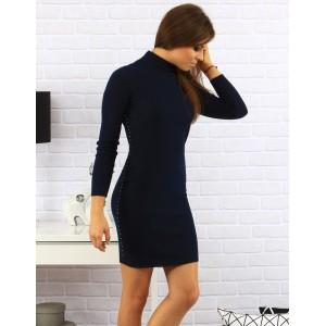 Dámské rolákové šaty nad kolena s vybíjením na bocích v tmavě modré barvě
