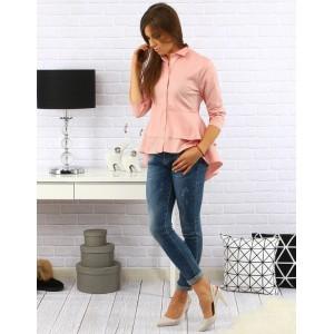 Elegantní dámská košile s tříčtvrtečními rukávy a prodlouženým zadem světle růžové barvy