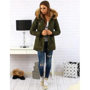 Zelená dámská bavlněná bunda na zimu s kapucí a kožešinou
