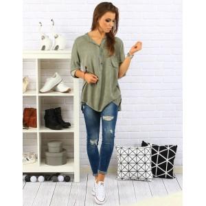 Pohodlná a elegantní dámská košile volného střihu olivově zelené barvy