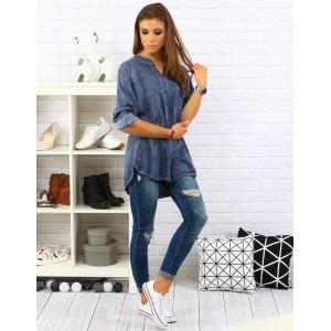 Stínovaná modrá košile pro dámy s dlouhým rukávem a volným střihem