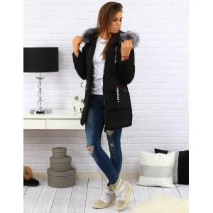 Dlouhá černá dámská zimní bunda s kapucí a šedou kožešinou