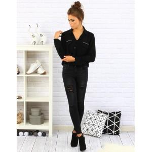 Černá elegantní košile pro dámy s dlouhým rukávem a stříbrnými kamínky na kapsách