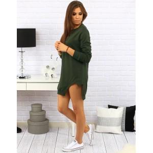 Sportovní dámské šaty nad kolena s rázporkem na levé straně v zelené barvě