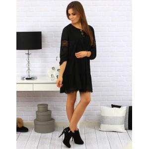 Elegantní dámské volné šaty nad kolena s krajkou na rukávech v černé barvě