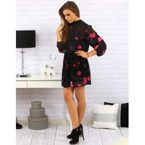 Dámské černé elegantní šaty nad kolena s růžovými květy se zapínáním na knoflíky